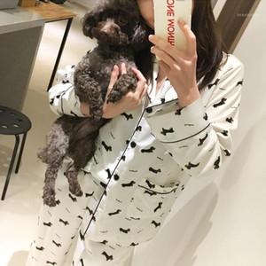 Al por mayor Nueva 2017 pijama Mujeres Dachshund Imprimir 3 piezas Set Top de manga larga + pantalones elásticos de la cintura + Blinder suelta Homewear S744071