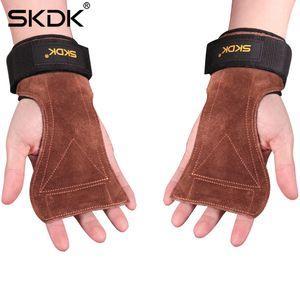2019 SKDK Grips Cowhide Gewichtheberhandschuhe Gym Fitness Handgriff Wrist Wraps Unterstützung Crossfit Kreuzheben Training Einstellbar Gepolstert M427F