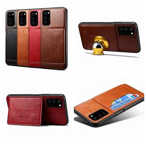 Caja de la caja de tarjetas de bolsillo para Samsung S20 magnética del cuero del sostenedor de la ranura de succión tarjeta de identificación + A51 A71 A91 Coche Soporte Ultra pata de cabra Teléfono Contraportada