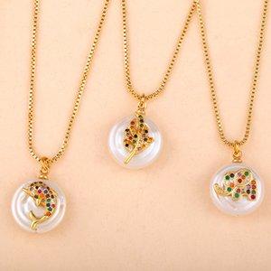Arco-íris colar de pingente Cubic Zirconia Rhinestone animal Folha Pérola colares cadeia de jóias Para Mulheres Meninas Jóias