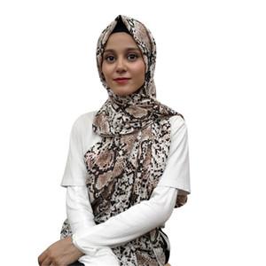 مسلمة الحجاب الأفعى الجلد البوليستر شال وشاح طباعة عالية الجودة خريف وشتاء الاعوجاج الإسلامية طويل شال T200609