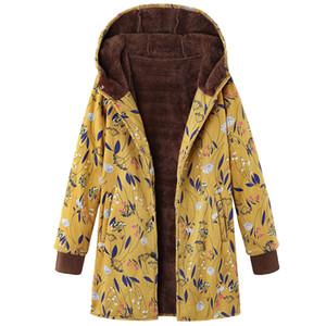Joineles otoño invierno más el tamaño de las mujeres con capucha abrigos impresión floral caliente grueso Parkas de algodón de manga larga casual 5XL Mujer Outwear