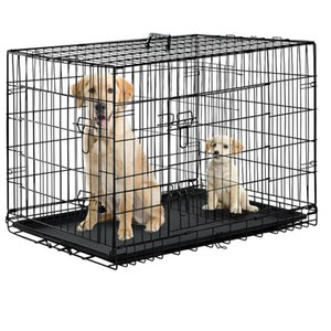 """Black 48"""" 2 Door Pet Cage Folding Dog w Divider Cat Crate Cage Kennel w Tray DC"""