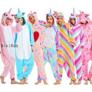 BIKIRUB adultes Pyjama femmes Flanelle nuit unisexe Kigurumi mignon Unicorn point Cartoon animaux Pyjama Pyjama capuche pour enfants