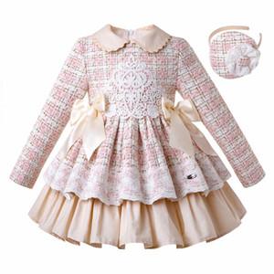 Pettigirl Sonbahar Kış Pembe Ekose Kız Prenses Elbise Kafa Çiçek Kız Elbise Çocuk Düğün Çocuk Lüks Tasarımcı Giyim Kız