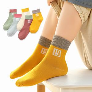5 Çiftleri / Lot Pamuk Çocuk Çocuk Çorap Kız Erkek Kış Güz Bahar Katı Renk Moda Spor Casual Çorap giyin