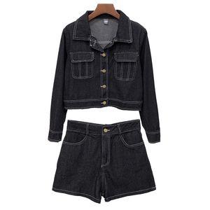 PERHAPS U women set jeans denim jacket shorts solid two pieces set turn down collar black white T0108
