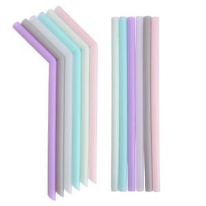 Silikontrinkhalm Mehrfarbig wiederverwendbare lebensmittelechte Strohhalme Gefaltet Gebogen Gerade Stroh Home Bar Zubehör 6 Farben GGA2259