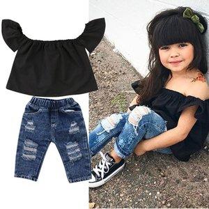 2019 Set di abbigliamento per ragazze di moda 2 pezzi 2019 Abiti per bambina di estate 2019 Increspature superiori nere + Pantalone in denim Pantaloni Abbigliamento per bambini Dropshipping