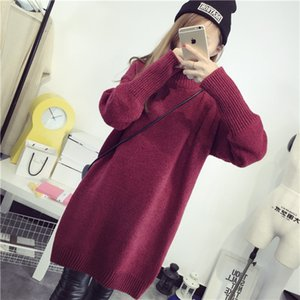 Womens Clothing Winter Long Sleeve Sweaters Dresses Loose Knitted Tops High Neck Warm Dresses Women Solid Color Sweaters Dresses