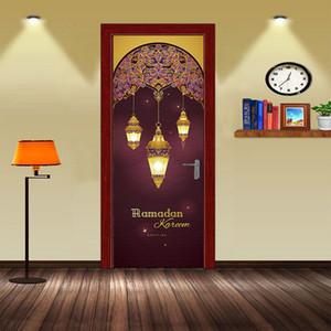 2 Pcs / Ensemble Mousseline Raomanda Porte Autocollants Islamique Sticker Mural Chambre Salon Décoration Papier Peint Affiche PVC Étanche Decal