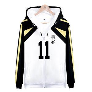 Japan Anime Haikyuu Zipper Jacke Fukurodani Academy Akaashi Keiji Cosplay Schuluniformen Menshoodies-Sweatshirts