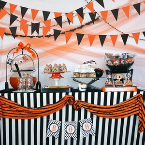 3m Halloween Orange Black Paper Flag Decorative Banners Halloween Party Hanging Decorations Supplies For Indoors and Outdoors