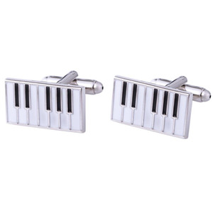 High-quality French Cuffs For Men's Piano Black And White Color Jewelry Cufflinks Gentleman Suit Inch Shirt Classic Decoration