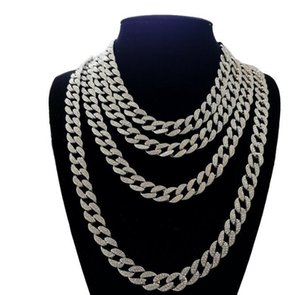 Pay4U 18 classic Full Diamond Cuban Necklace 18inch 20inch 24inch 30inch Bling Jewelry Necklace for Men Iced Out Miami Curb Cuban Link Chain