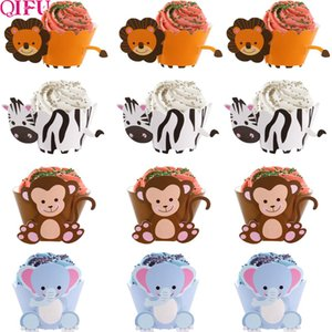 24 piezas cebra Animal Cupcake Wrappers Cup Cake Paper Jungle Theme Birthday Party Decor Kids Cake Decorating Supplies Baby Shower