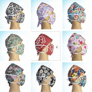 Blumendruck Krankenschwester Kappe Arzt Hut mit Gesichtsmaske Set Unisex Waschbar Schutz Baumwolle Masken Mund Abdeckung Anti Staub Atmungs CoverE41403
