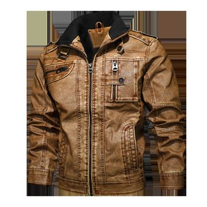 Mens Leather Jackets Motorcycle Stand Collar Zipper Pockets Male US Size PU Coats Biker Faux Leather Fashion Outerwear SA-8