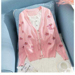 Yeni tasarım kadın sonbahar yeni pembe leopar nakış v yaka tek sıra düğmeli uzun kollu kazak hırka örme ceket S M L XL XXL
