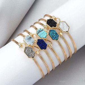progettista filo Druzy Bangle faux dei braccialetti di fascino di pietra naturale geometrici per le donne gioielli di moda