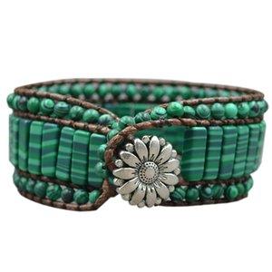 Bohemian Bracelet Stone Single Vintage Leather Wrap Bracelet Semi-Precious Beaded Cuff Bracelet Women's Gift