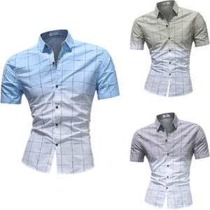 Camisas dos homens de negócios de manga curta Camisas 2018 Verão Novo Botão Plaid Casual Formal Slim Fit camisa Trabalho Top Tee