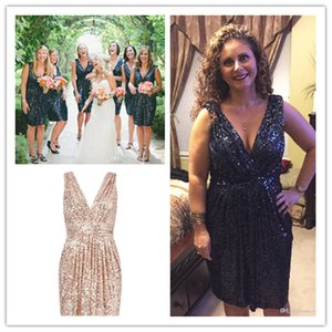 Sequins Short Bridesmaid Dresses Navy Blue Order Custom Made Wedding Party Guest Gown Junior Maid of Honor Dress Cheap