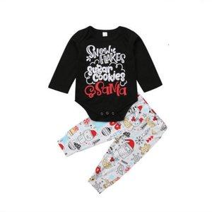 Yenidoğan Bebek Erkek Bebek Kız Noel Giyim Karikatür Uzun Kollu Romper Pantolon Tops Kıyafetler Giyim