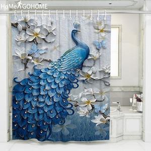 Psychedelic Peacock Shower Curtain 3D Bagno ai fiori cortina di Boho poliestere impermeabile Bagno tenda blu della decorazione di arte CX200704