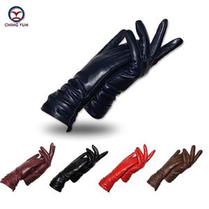 Ching yun novas mulheres luvas de couro genuíno inverno outono senhoras marca de moda pele de carneiro engrossar braço manga de couro quente yv01 t190618