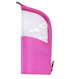 Half Transparent Pouch Pencil Case Brush Holder Makeup Bag Portable Fashion Zipper Closure Organizer Waterproof Travel Stand-up