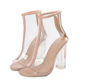 Женщины ПВХ лодыжки сапоги сексуальные Пип Toe прозрачные сапоги блок высокие каблуки сапоги обувь римские Перспекса Люсита