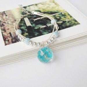 Mode Boule en verre sec de fleur Bracelet Femme étudiant vrai cadeau fleur éternelle fleur plante spécimen Bracelet