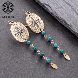 Women's Gold With Blue Beads Dangle Earrings Jewelry Hanging Hook Pendientes Female Ear Suspension Decoration Accessories Gifts