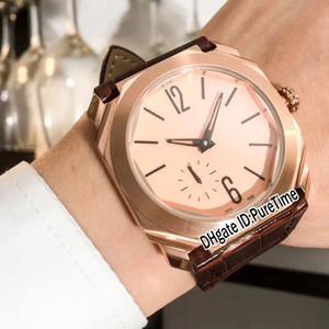 Nuovo Octo Finissimo 103.035 Rose Gold Gold Quadrante pelle Autoamtic Mens Watch Brown Sport orologi a buon mercato di alta qualità Gents BV44b2