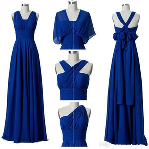 2020 Nova Convertible Chiffon Vestidos dama de honra barato personalizado Comprimento fez uma linha Garden Beach Boho Convidado de Casamento Vestido Andar 4631