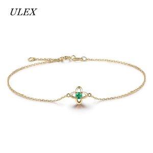 ULEX Trendy Cubic Zirconia White Color Leaf Charm CZ Crystal Female Adjustable Bracelets For Women Wedding Jewelry