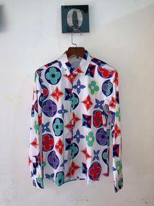 impression logistique libre à chaud nouveaux hommes occasionnels Slim luxe revers à manches longues LOGO chemise mode européenne et américaine shirt tendance de la marque