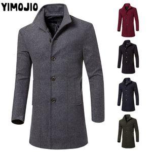 YIMOJIO Coat Men Casual hommes veste longue Trench Streetwear Slim hommes solides Homme coupe-vent chaud Réchauffez CJ191118