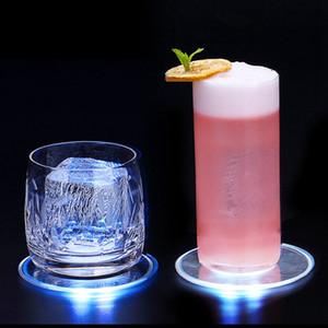 Acrylique LED ronde Coaster carré lumineux tasse tapis de tapis coloré Bar cocktail bière boissons Décoration HHA1048