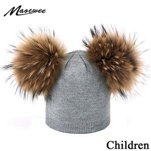 Winter Children Double Plush Ball Cap Hat for Kids Baby Girls Knitted Beanies Cap Hat Thick Female Autumn Fur Pompom Ski