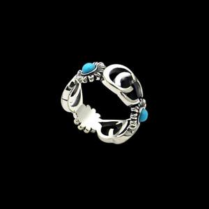 Coppia Anello Anello stile classico retrò da uomo Fiore nuova marca originale cavità dell'acciaio inossidabile Design G Lettera Turchese di