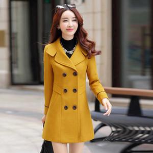 Joineles estilo coreano otoño invierno Mujeres Abrigos de lana solapa solo pecho Oficina Mujer Outwear ocasionales delgados del tamaño extra grande Coats 3XL