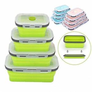 6 цветов Floding Обед Ящики для пищевых продуктов Силиконовые емкости для хранения пищи Student Портативный Bento Box 350мл / 500мл / 800мл / 1200 мл CCA11669 20шт