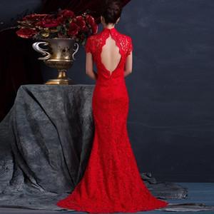 Encaje rojo sin respaldo Sexy Cheongsam Novia larga Vestido de casarse Vestido de noche chino Mujer Boda Qipao Moderno Vestidos de fiesta Robe C18122701
