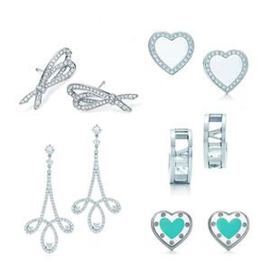 Novo Charme 925 Sterling Silver Clássico Amor Coração Do Coração Brincos Curva e Geométrico Na moda Simples Zircon Stud Brincos Tiff Presente