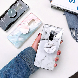 TPU luxe Cover Téléphone Case Holder Support en marbre pour Samsung Galaxy A51 A71 A31 A41 A50 A70 S10 plus S20 Ultra Note 10