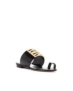 Zapatillas sandalias planas de cuero negro 4g de moda para mujer 2019ss con hebilla de metal de bronce detalle de suela altura 9 cm