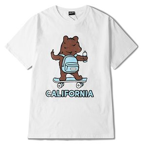 Wholesale-Mens Fashion Designer T Shirts Hip Hop Short Sleeve Retro Cute Men Women Cartoon Bear Print T Shirt Size S-3XL