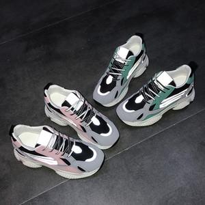 Primavera suela gruesa resistente papá zapatos femeninos al aire libre Clunky zapatillas de aumento de la altura de Corea caída de Calzado manera de las mujeres del deporte del acoplamiento